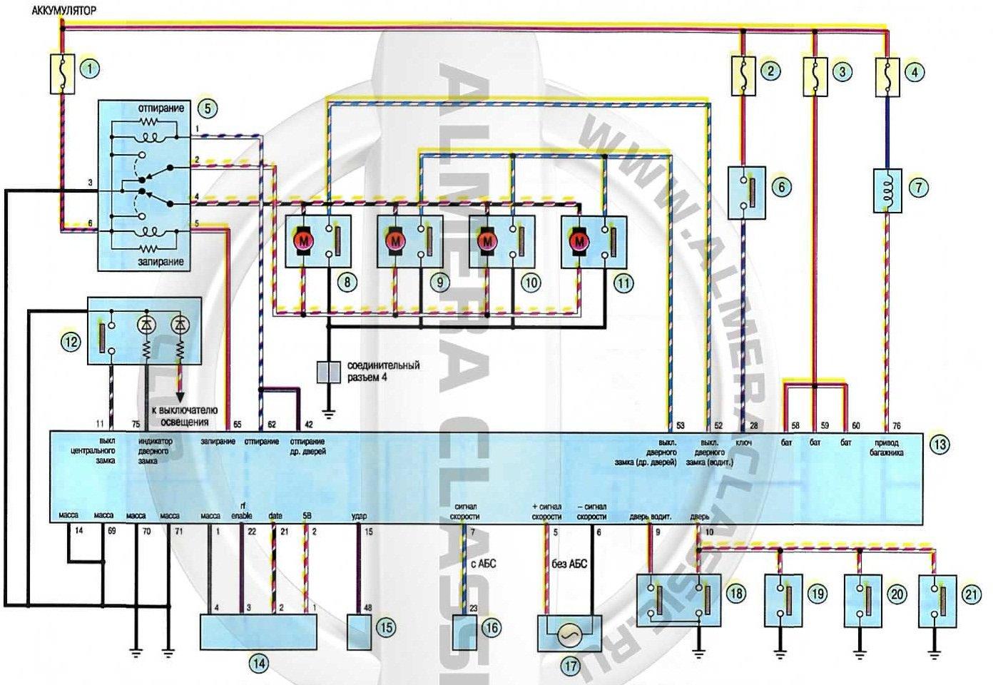 Схема замка зажигания альмера классик